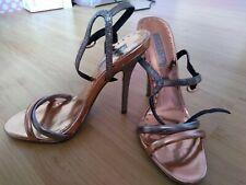 Metallic Strappy Bronze Silver Glitter Heels Topshop Size 6