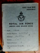 Royal Air Force Service and Release Book  Airwoman LACW Hutton 1943 to 1946