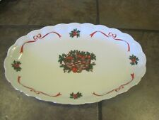 WALBRZYCH ~ BAUM BROTHERS ~ HOLIDAY RIBBON / BASKET OF CHEER PLATTER, EUC