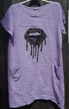 Ladies Lilac Linen Dress With Gold Foil Leopard Print Lips Will Fit UK 10-14