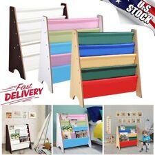Wood Kids Child Book Shelf Sling Storage Rack Organizer Bookcase Display Holder