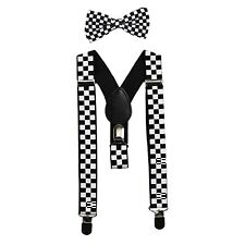 Black&White Checkered Kids Baby Suspenders and Bow Tie Set Elastic Adjustable