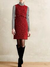 ANTHROPOLOGIE by Hi There Red Charlotte Tweed Sheath Dress NwT size 12