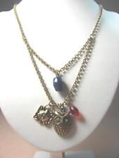 NEW LUCKY BRAND CRYSTAL EYES OWL & LOCK BLUE GEMSTONE PUNK 2-CHAIN GOLD NECKLACE