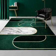 Luxury Deep Emerald Green Carpets Geometric Gold Lines White Marble  Area Rugs