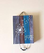 """WOODEN BOX """"HOME AT LAST"""" SHABBY CHIC DOOR HANGING/PLAQUE WITH BEADS"""