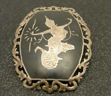 Enameled Niello Pin Brooch Vintage Sterling Silver Siam
