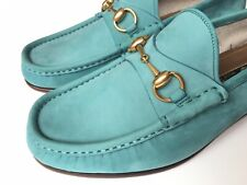 GUCCI 1953 Roos Horsebit Turquoise Green Nubuck Loafers Size UK 6.5 (US 7.5) *