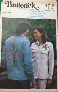 Vintage 1970s Men's Shirt Pattern Women's WITH TRANSFERS Butterick 4742 Sz 40