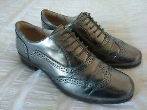 Clarks 'Narrative' Ladies Silver Pewter Patent Leather Brogue Shoes, UK6D