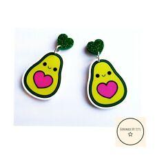 Avocado Dangle Drop Stud Earrings 🥑glitter Heart🥑quirky