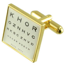 Gold Optician Eye Test Chart Cufflinks With Pouch