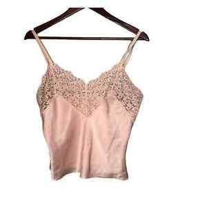 Vintage Wacoal blush pink lace lingerie PJ top lacey floral v-neck japan medium
