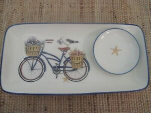 """NEW- SEASIDE 12"""" x 6"""" Platter with Dipping Bowl,Bicycle,Shells,Nautical,Coastal"""