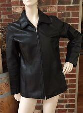 GAP Womens M Black Leather Motorcycle Moto Leather Full Zip Jacket Coat
