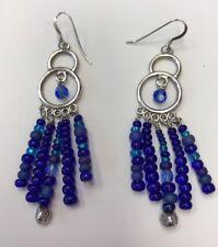 VintageSterling Silver Women's Mixed Blue Dangle Earrings 12.1gr