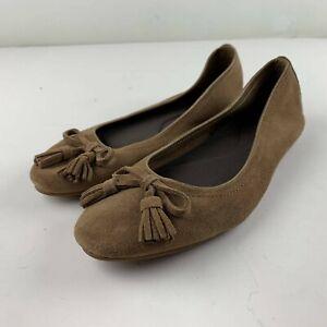 Crocs Triple Comfort Women 9.5 Brown Suede Flats Loafer Bow Tassel Casual 203409