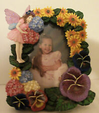 "Wangs 3-D Fairy & Flowers Photo Picture Frame Ceramic 6 1/2"" X 5"" Sparkling Wing"