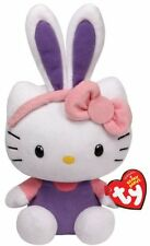 y Beanie Babies 8'' Plush HELLO KITTY Easter Bunny, PURPLE EARS ~NEW