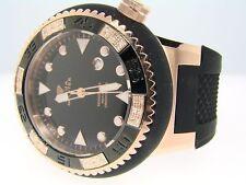 Mens Rubber Band Black/Rose Aqua Master Diamond Watch
