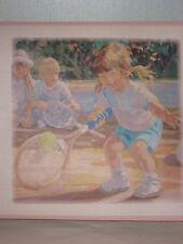 York Girls Boys Children Tennis Golf Ballet Border Pink Watercolor 5 Yds NIP