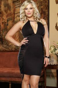 New Plus Size Fringe Side Panels Halter Black Club Wear Dress 1X/2X 3X/4X D9373