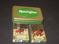 Remington Firearms Playing Cards Collector Tin Set Sealed Decks US Card Co.1998