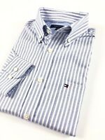 TOMMY HILFIGER Shirt Men's Blue / White Stripe Poplin Regular Fit