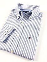 TOMMY HILFIGER Shirt Men's Blue / White Stripe Poplin Regular Fit