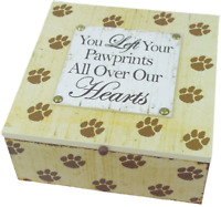 Pet Memory Box Keepsake Ashes Box Pawprints Wooden Lidded Storage Cat Or Dog