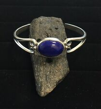 Solid Sterling Silver Cuff Bracelet with 18x13mm AA Grade Lapis Lazuli Gemstone