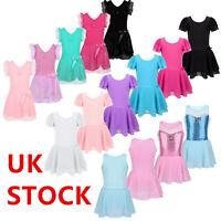 UK Girls Ballet Leotard Tutu Dress Gymnastics Dancewear Performing Show Costumes