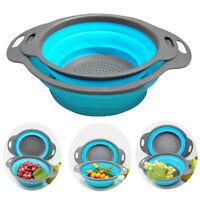 CO_ Foldable Kitchen Vegetable Fruit Washing Basket Filter Strainer Colander Coo