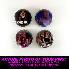 """CARRIE (1976) - 1.5"""" PINS / BUTTONS (vintage poster art horror stephen king book"""