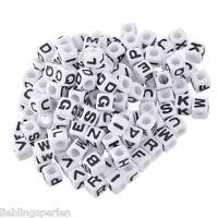 """900 Weiß Buchstaben """"A-Z"""" Acryl Würfel Beads Perlen Spacer 7x7mm"""