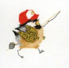 Heritage Crafts Fisherman Chick Chickadees Cross Stitch Kit  by Valerie Pfeiffer