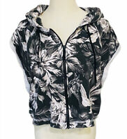 BILLABONG Womens Size 10 Sleeveless Hoodie - Tropical Floral Jersey Hooded Top