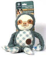 1 Ct AKC American Kennel Club Plaid Sloth Squeaky Dog Toy Soft Fabric To Cuddle