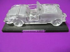 1959 CONVERTIBLE CORVETTE GLASS CAR PAPERWEIGHT W/ STAND (FREE SHIPPING)