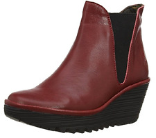 FLY London YOSS CORDOBA RED Leather Wedge Ankle Boots size EU 41  US 10-10.5