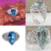 Women Aquamarine Gemstone 925 Sterling Silver Wedding Ring Jewelry Gift Hot-sale