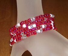 Red Shimmer + White + Crystal Glass Beaded Wire Wrap / Coil Bracelet - USA Made
