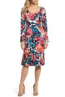 Maggy London Scoop Neck Sheath Dress With Pleat Hem sz 2 $118