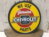 """~ We Use Genuine Chevrolet Parts ~ 12"""" Round Metal Sign cars auto truck mancave"""