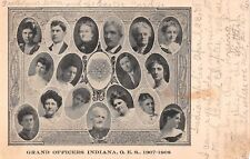 Indiana postcard Grand Officers O.E.S. 1907-1908 Order of the Eastern Star