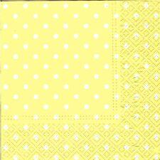 2 pcs Single Paper Napkins For Decoupage Craft White polka dots on yellow