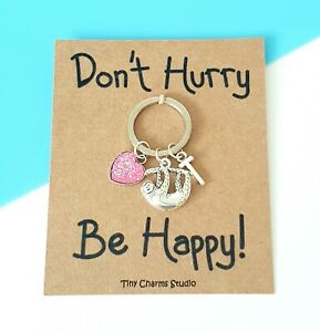personalised Initial Sloth Keyring Accessories positivity encouragement Gifts