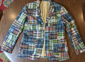 Polo Ralph Lauren Patchwork Blazer Multicolor Men's Size L India Madras Jacket