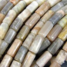 25 x Tubo Semi-Preciosas Ágata fabricación de joyas perlas rosa/gris 18x8mm No.21