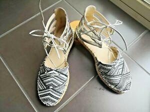Nine West Black And White Espadrille Women's Shoes Sandale Size 7M